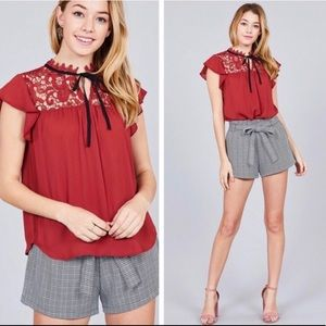 Tops - ❤️ Sexy Lace-Ruffle Tie Top ❤️